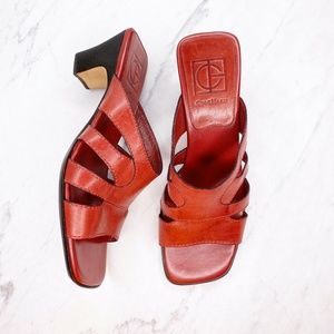 Cole Haan Red Leather Heels Shoes Sandals Size 6